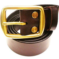Horween leather man's belt with Brass pin buckle