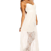 White Crochet Layer Mesh Design Fringe Accent Maxi Summer Dress
