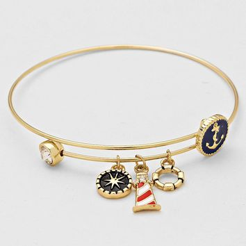 Gold Nautical Bangle Bracelet