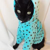 New CoolCats Turquoise and Brown Polkadot Knit Hoodie for Cats