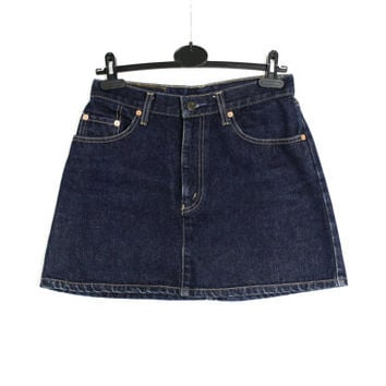 Vintage 90's Levis 820 Dark Blue Denim Mini Skirt A-Line, Orange Tab Levi's Skirt W 29 - Xsmall to Small