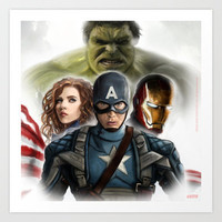 The avengers......Hulk Captain America Black Widow Ironman Digital Painting Art Print by Emiliano Morciano (Ateyo)