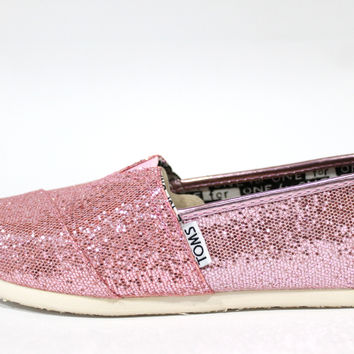 Toms Youth's Classics Pink Glitter Casual Shoes