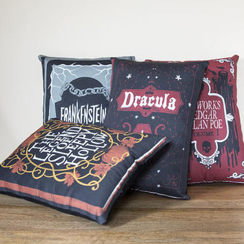 Set of Four Book Pillows - Handmade Plush Throw Pillow - Horror Inspired Home Decor - Killin Me Softly - KMSxCo