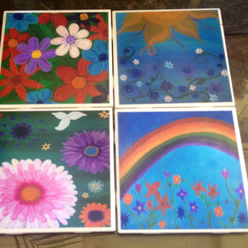 Happy Flowers -Set of 4, Tile Coasters, original art, paintings, gift, OOAK, Flower, floral, boho, hippy, bohemian