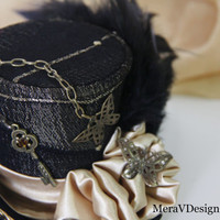 Black Gold Steampunk Mini Top Hat, Gothic Party Hat, Mad Hatter, Alice In Wonderland,Key Charm,Swarovski Bead,Butterfly Charms READY TO SHIP