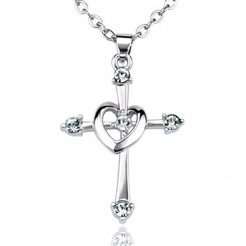 Silver Plated Gold Cross Necklace Necklaces for Women Fashion Jewelry Bridal Jewelry
