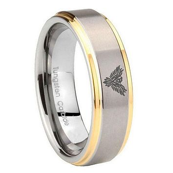 8MM Step Edges Phoenix 14K Gold IP Tungsten 2 Tone Laser Engraved Ring