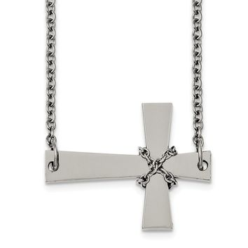 Stainless Steel Sideways Cross Pendant with Chain Necklace 21in