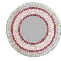 Pink Round Mosaic Wall Mirror // Nursery Decor // Accent Mirror