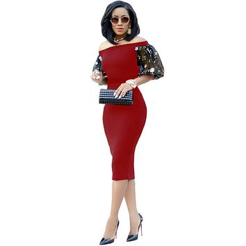 Off the Shoulder Transparent Embroidery Tee-length Bodycon Dress