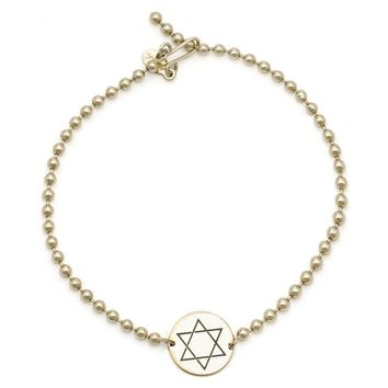 Alex and Ani Star of David Beaded Bracelet - Gold Filled