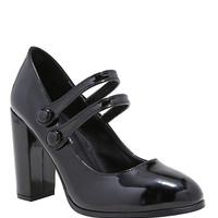 Black Round Toe Patent Leather Double Strap Mary Jane Heels