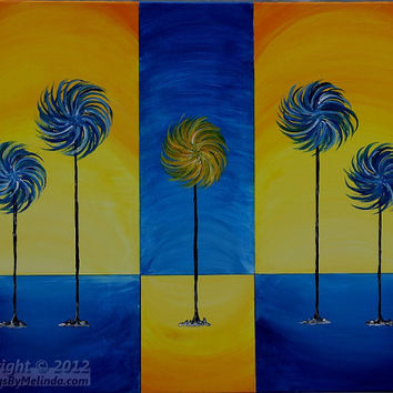 Original Abstract Tree Painting, Large Painting, Modern Art, Child Room: Blue, Yellow, Lollipop Trees, Contrast, Lorax