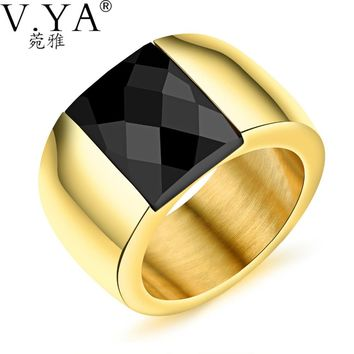 V.YA 2017 Men's Rings Stainless Steel Rings Jewelry 17G Fashion British Style Hypebole Inlaid Crystal Rings for Men DropShipping
