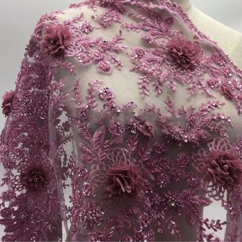 2yards New fashionable heavy beaded African French Lace Fabric with 3D flowers