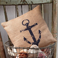 Nautical Ship's Anchor - Burlap Accent Pillow - 8-in x 8-in