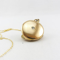 "Antique Edwardian 1/4 Gold Shell Diamond Locket Necklace Wightman and Hough Round Photo Locket Pendant Initial ""K"" Monogram W&H Jewelry"