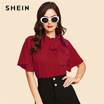 SHEIN Burgundy Flutter Sleeve Tie Neck Blouse Vintage Stand Collar Half Sleeve Slim Fit Workwear Tops Women Autumn Blouses