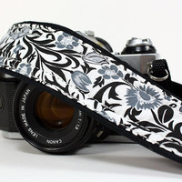 Floral dSLR Camera Strap, Black, White, Grey,SLR