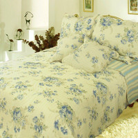 DaDa Bedding Reversible Camellia Quilt Set, Floral, Cal King, Queen, Twin, 3-5 Pieces