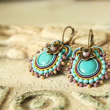 Turquoise soutache earrings, turquoise earrings, soutache earrings, turquoise beaded earrings, soutache jewelry, drop soutache earrings
