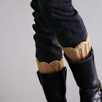 Beige leg warmers crochet boot toppers, winter fashion, chunky boot cuffs