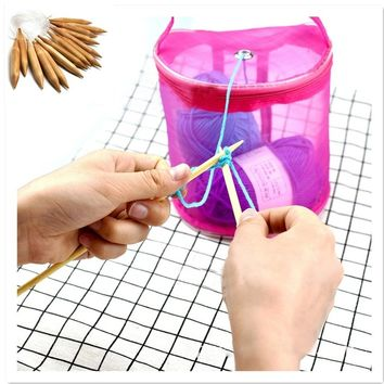 Mesh Sewing Kit DIY Hand Weaving Tools Organizer Hollow Weaving Yarn Bag Crochet Thread Storage Mesh Holder+20MM Carbonized Bamb