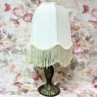 Lamp Table Brass Desk Vintage Small Fringed Shade Victorian Collector blm