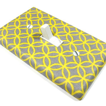Gray and Yellow Circle Tile Light Switch Cover Abstract Modern Home Decor Switchplate Dimmer Outlet