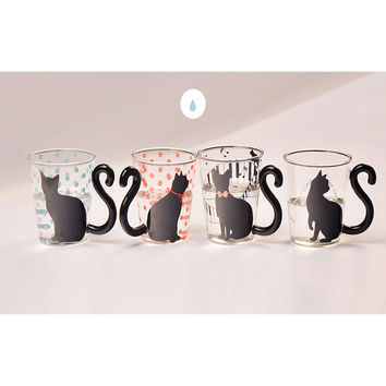 Kitty Cat Glass Mug Tea, Milk, or  Coffee Cup