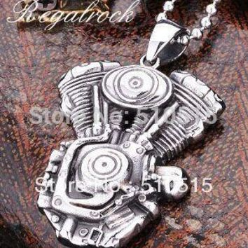 Regalrock Steampunk Engine Motorcycle Biker Pendant Necklace