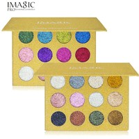 2017 New Shiny Eye Shadows Luxury Makeup Waterproof 12 Color Pigment Gold White Black IMAGIC Eyeshadow Glitter Powder Palette