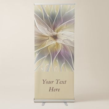 Floral Fantasy Gold Aubergine Abstract Text Retractable Banner