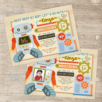 Robot Invitation Robots Gears Birthday Party Printable Invitations Retro Robot let's go nuts Invite robot gear robotic mechanical party boy