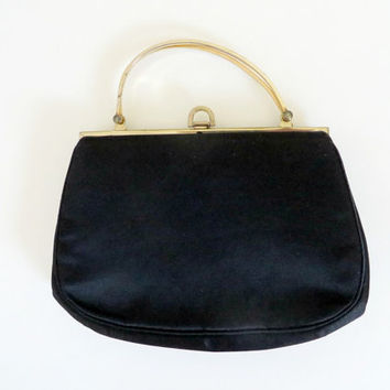 Vintage Morris Moskowitz Evening Bag Black Satin Gold Double Handle Mid Century Modern