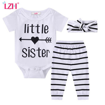 LZH 2017 Summer Newborn Baby Girls Clothes Short Sleeve Rompers+Pants+Headband 3pcs Outfit Baby Boys Clothes Set Infant Clothing