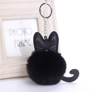 Fluffy Black Cat Keychain