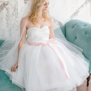Classic Fairytale Bridal Wedding Gown Prom Dress 2013 Custom in your size with Accent Sash Color options