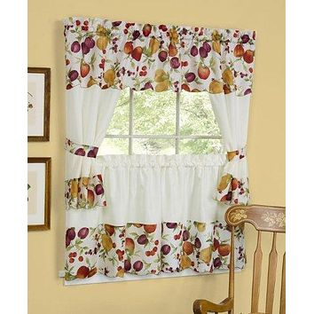 Ben&Jonah Collection Chesapeake Embellished Cottage Window Curtain Set - 58x24 Tailored Tier Pair/58x36 Tailored Topper with attached swaggers and tiebacks. - Multi