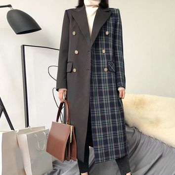 LANMREM New Fashion Contrast Color Plaided Patchwork Double Breasted Coat Long Type Straight Jacket For Women Clothes YF322