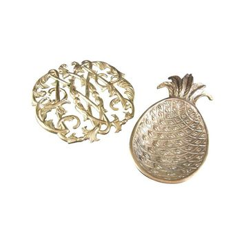 Pre-owned Solid Brass Williamsburg Trivet And Pineapple Tray