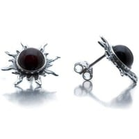 Cherry Amber Sterling Silver Black Sun Stud Earrings