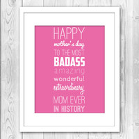 Print Mothers Day Present Mom Gift Typography Home Decor Wall Decor Wall Art