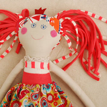 Princess Doll, Gift for Daughter, Handmade Rag Doll, Birthday Presents, Stuffed Doll to Hug, First Doll, Fabric Linen Ooak Doll