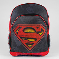 "Dc Comics Superman Backpack - S Logo Red Black 16"" Large Boys School Book Bag"