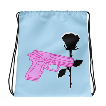 Pistol and Rose Drawstring Bag