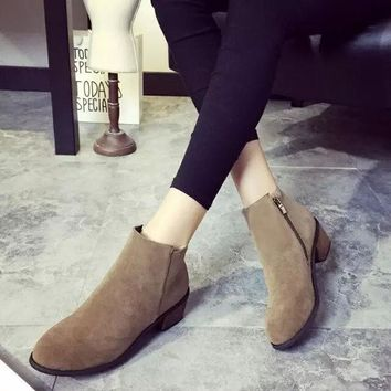 ESBONG Winter With Heel Vintage Suede Zippers Shoes Boots [9432935818]