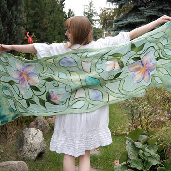 Nuno felted scarf, long mint silk shawl with decorative flowers motif . OOAK