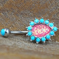 Opal and Turquoise Belly Button Rings